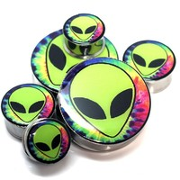 Trippy Alien Stainless Steel Ear Plugs Ear Gauges - 32mm