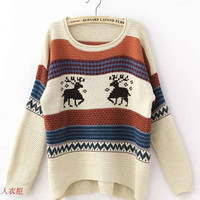 *Free Shipping* Beige Women Knitting Sweater One Size ZQ13141be from efoxcity