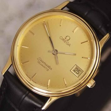 Authentic Omega Seamaster Date Yellow Gold Dial Gold Plated Quartz Mens Watch