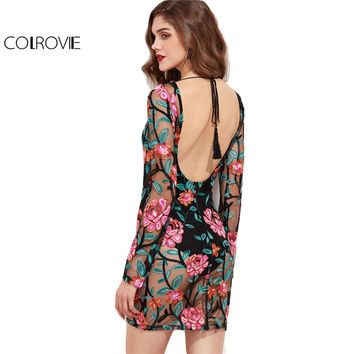 COLROVIE Sexy Beach Wear Long Sleeve Tight Dress Black Tied Scoop Back Embroidered Mesh Overlay Bodycon Dress