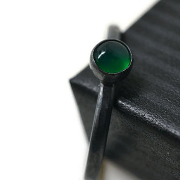 Oxidized Emerald Ring, Green Gemstone Ring, Black Silver Ring, Minimalist Gemstone Ring, Stacking Ring