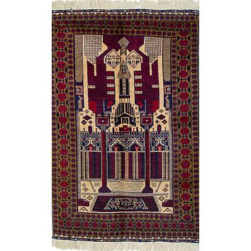 Oriental Turkman Tribal Pure Wool Rug, Red/Beige