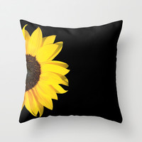 colored summer ~ sunflower black Throw Pillow by Steffi ~ findsFUNDSTUECKE