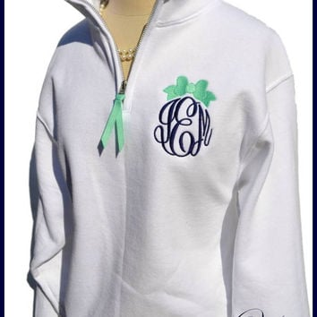 Custom Bow Monogram Pullover with Quarter Zipper - Personalized pullover with Bow Embroidery, Bridesmaids Shirts monogram fleece sweatshirt