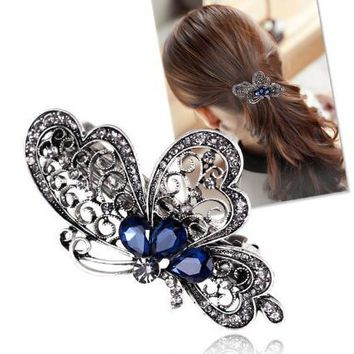 2016 high quality Fashion blue butterfly hair clip women luxurious girl hair accessories trendy animal hairs accessoires jewelry