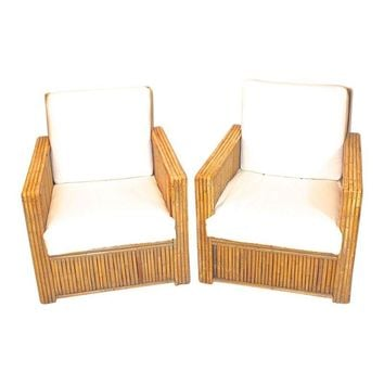 Pre-owned Vintage 1940s Rare Bamboo Club Chairs