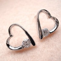 Zirconium Crystal Heart Earrings Declared Love Jewelry for Girls: Sports & Outdoors