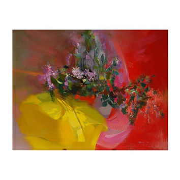 Abstract still life art - Flowers Painting - Red Lilac Canvas Art by Yuri Pysar