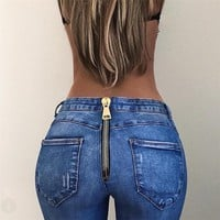 Fashion Buttock Zip High Waist Jeans Trousers Women Bodycon Straight Pants