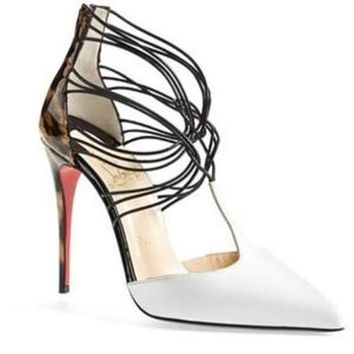 Christian Louboutin CONFUSA White Leather Leopard Heel Sandals Pumps Shoes $1195