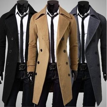 Fashion Hot Sale Trench Coat Men Double Buttons Sobretudo Masculino Slim Fit Long Trench Coat for Men Autumn Overcoat Men