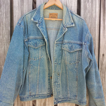 Mens GAP Work-Force Vintage Blue Denim Jean Jacket - Made In USA - Size M /  L