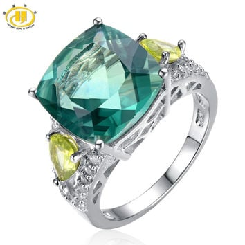 Hutang -Cocktail Ring- Natural Green Fluorite & Peridot Solid 925 Sterling Silver Women's Rings Party High Quality Fine Jewelry