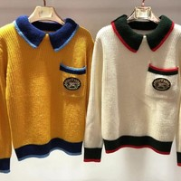 Burberry autumn and winter new fashion lapel long-sleeved embroidery knit pullover sweater
