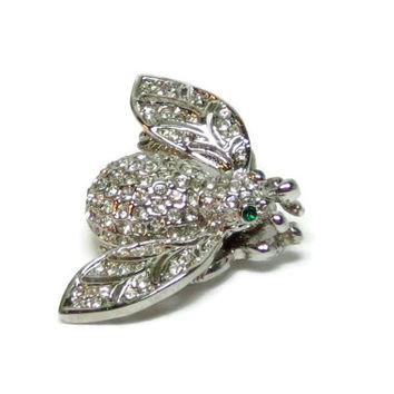 Vintage Bee Pin Silver Bee Brooch Green Rhinestones Eyes