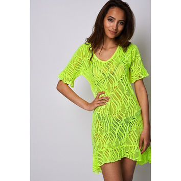 Neon Yellow Laser Cut Beach Cover Up