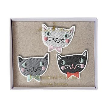 Embroidered Fabric Cat Brooches in White, Grey and Black