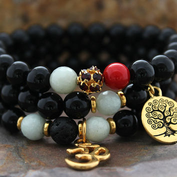 Bracelet Stack, Holiday Bracelet Set of 3, Black Onyx, Tree of Life, Om, Amazonite, Swarovski, Red Coral, Gift for Woman, Bracelet for her