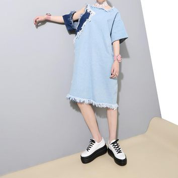 Off Shoulder Denim Autumn Dress Female Tunic Hollow Long Loose Women Dresses