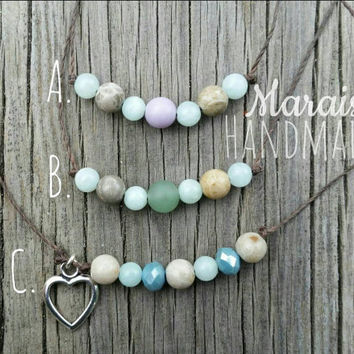 Gemstone & glass beaded necklaces - Petoskey, Jade, Sea glass beaded on poly cording
