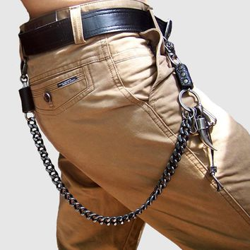 New Street Fashion Punk Rock Style Motorcyle Men Belt Chain  Stainless Bullet Buckle Jeans Pants Waist Chain Wallet Key Chain
