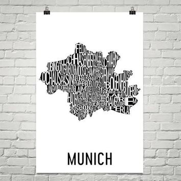 Munich Neighborhood Typography Prints – Modern Map Art