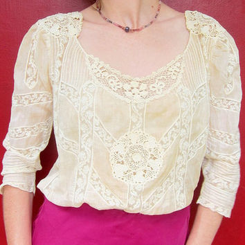Lovely Antique Blouse 1880s  Handmade Lace  by RiffRaffGentry