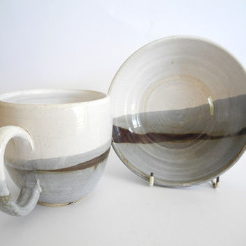 Mug and Bowl, Breakfast Set Handmade Ceramics Pottery in Grey and White - Winter Design