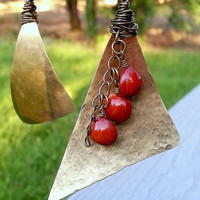 Metal Triangle Earrings with Red Bahay Seeds - Hammered Brass Finish with Antique Brass Wire Wrapping - Red Gold Earrings - Dangle Earrings