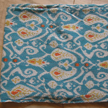 Turquoise Ikat Kantha Quilt Blanket - Cotton Quilted Bedspreads,Throws,Ralli,Gudari Handmade Tapestery REVERSIBLE Bedding 90x108