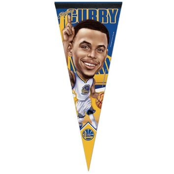 "STEPHEN CURRY #30 GOLDEN STATE WARRIORS CARICATURE ROLL UP FELT PENNANT 12""x30"""