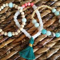 Set of 3 Amazonite Snow Quartz and Mala Bead Tassel Bracelets, Stacking Bohemian Women's Jewelry, Soft Turquoise White Gold Coral and Teal