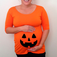 Maternity Halloween shirt with pumpkin face, maternity clothes, costume, fall,