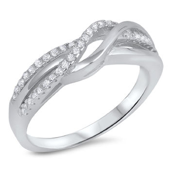 Sterling Silver CZ Simulated Diamond Overlapping Infinity Ring 7MM