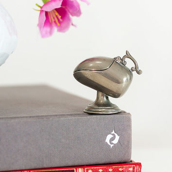 Vintage Tiny Metal Sugar Shuttle: Unique Spoon Holder, Food Shuttle, Spoon Case, Trinket Box, Listed by Cozy Traditions