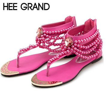 hee grand bling beading sandals t strap flip flops summer style flats shoes woman rhin  number 1