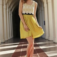 Women's Mustard Lace Dress Preorder - Womens Boutique Dresses