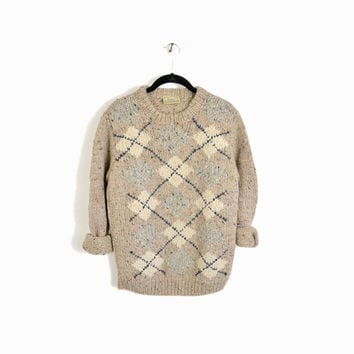 Vintage Handknit Irish Wool Sweater Oatmeal Flecked Argyle Sweater - m