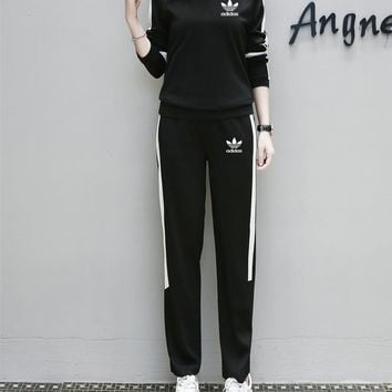 """Adidas"" Women Sport Casual Simple Multicolor Stripe Long Sleeve Trousers Set Two-Piec"