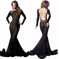 Black Sequined Sheer Long Sleeve Backless Fishtail Maxi Dress
