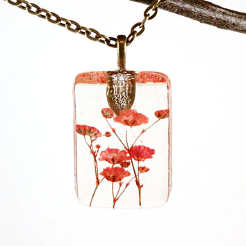 Resin Pendant Red - Resin Necklace - Red Baby's Breath Resin Pendant - Baby's Breath  - Botanical Pendant - Red Pendant - Flower Pendant
