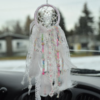 White Car  Bohemian  Dream catcher, Small Boho Dreamcatcher, Car Accessory for women, Rear View Mirror, Car Charm