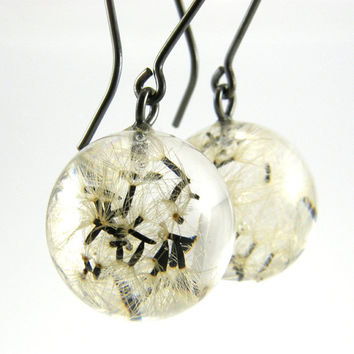 Dandelion Seeds Oxidized Silver Earrings, Botanical Resin Earrings