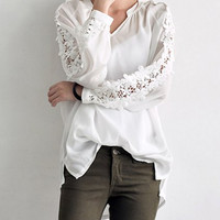 White V-Neck Floral Lace Sleeve Blouse