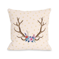 Antler Flowers Throw Pillow by OBC