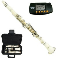 Merano B Flat White / Silver Clarinet with Case+Mouth Piece+Reed and Cap; Screwdriver; Soft Cleaning Cloth; Cork Grease; A Pair of Gloves+Free Metro Tuner