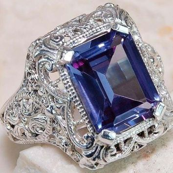 Silver Ring Amethyst Gemstone Created Dinner Ring Lovely Design Great Stone-2017
