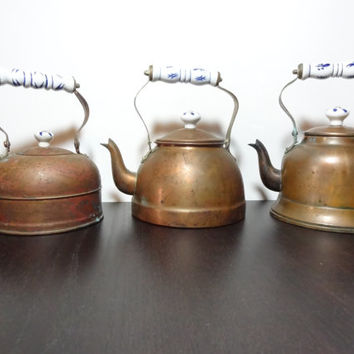 Vintage Set of 3 Old Dutch Style Copper Tea Kettles/Tea Pots with Porcelain Delft Blue Handles - For Rustic or Farmhouse Kitchen Decor