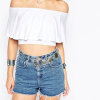 ASOS Off Shoulder Top With Ruffle Detail