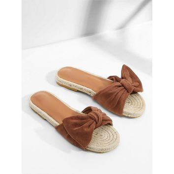 Bow Decorated Espadrille Flat Sandals